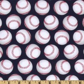 Baseballs on Navy Puppy Puddle Pad