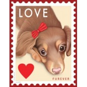 "Dog Doxie Love ""Faux"" Furever Stamp 8x10 Art Print"