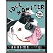 Dog Pit Bull - Love Monster Doggie Treats 8x10 Art Print