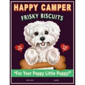 Dog Bichon - Happy Camper Frisky Biscuits  8x10 Art Print