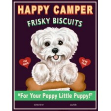 Dog Bichon - Happy Camper Frisky Biscuits  8x10 Art Print