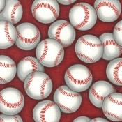 Baseballs on Red Puppy Puddle Pad