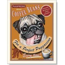 Dog Pug - Puggaccino 8x10 Print