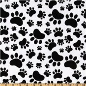 Black Paws on White  </br>Puppy Belly Band CLEARANCE